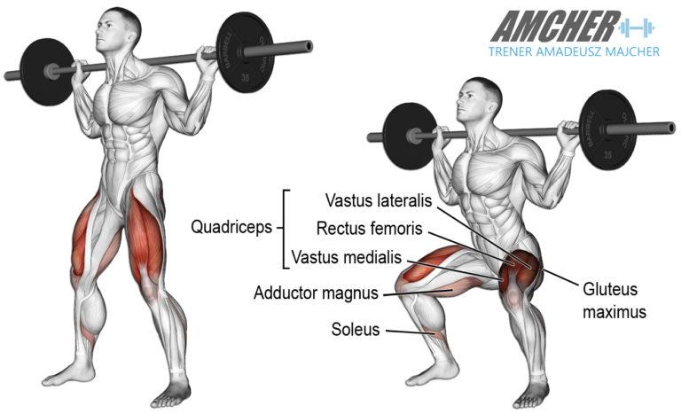 Trening nóg - przysiad ze sztangą na karku.
