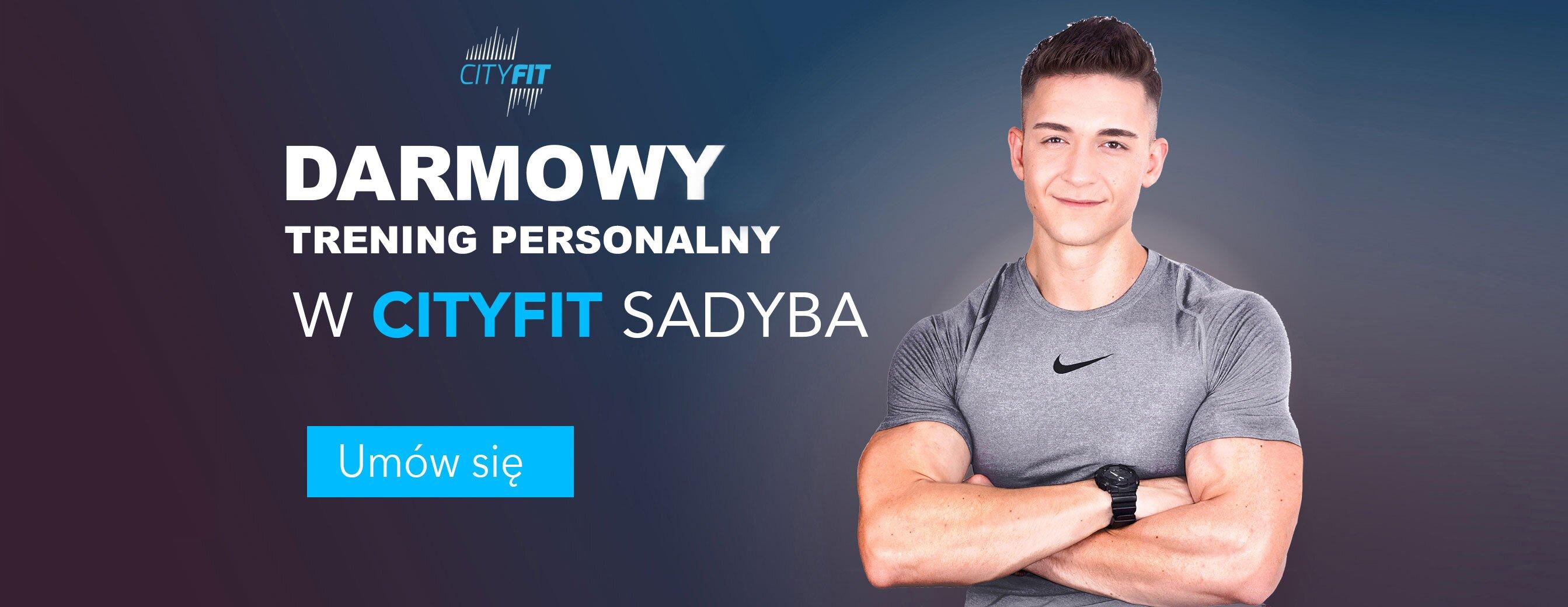 baner promocyjny z zaproszeniem na zajęcia próbne w Cityfit Sadyba z trenerem personalnym